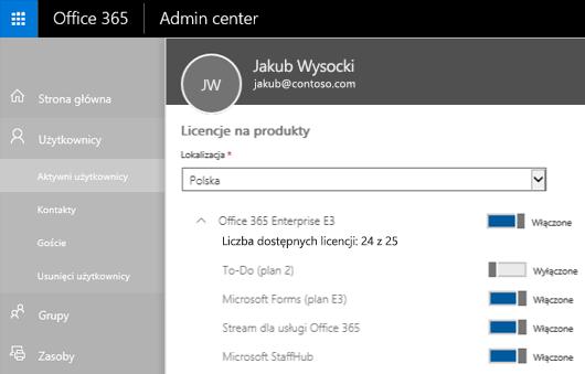 Zrzut ekranu przedstawiający stronę Licencje na produkty w centrum administracyjnym usługi Office 365 z kontrolką przełącznika przesuniętą do pozycji Wyłączone dla aplikacji To-Do (Plan 2).