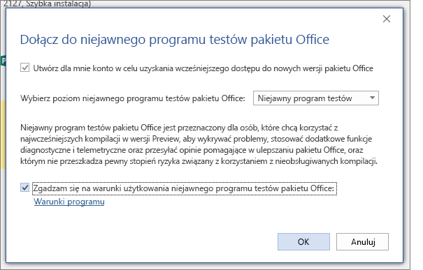 Okno dialogowe Dołączanie do niejawnego programu testów pakietu Office
