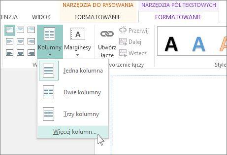 Narzędzia pól tekstowych — odstępy między kolumnami