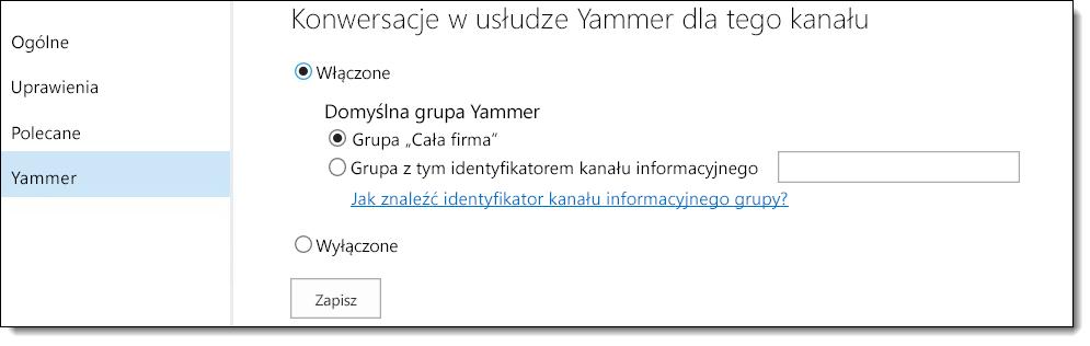 Ustawienia usługi Yammer w aplikacji Wideo w usłudze O365