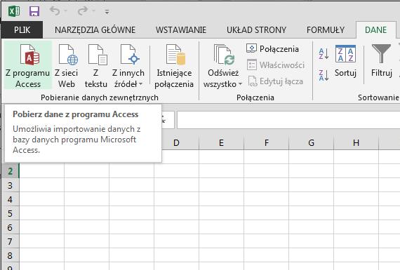 Importowanie danych z programu Access