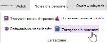 Zarządzanie ustawieniami Notes dla personelu na karcie Notes dla personelu.