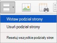 Opcje w menu podziały