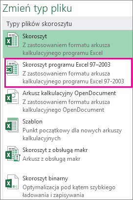 Format skoroszytu programu Excel 97-2003