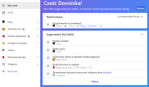 Zrzut ekranu przedstawiający sugestie dotyczące Mojego dnia