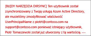 Szczegóły błędu synchronizacji katalogów dla danego użytkownika