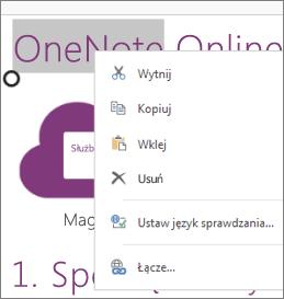 Menu kontekstowe w aplikacji OneNote Online na urządzeniu dotykowym