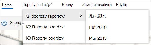 Przykład kaskadowego menu programu SharePoint