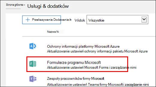 Ustawienia administracyjne programu Microsoft Forms