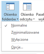 W menu okienka folderów jest zaznaczona pozycja Normalny.