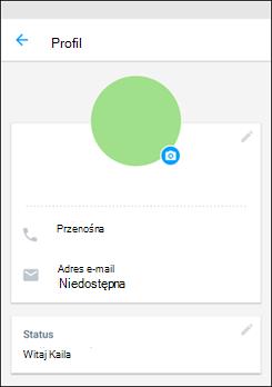 Aplikacji kaizala Konfigurowanie profilu