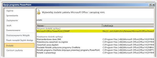 Opcje programu PowerPoint, ekran Dodatki z wyróżnionym dodatkiem STAMP