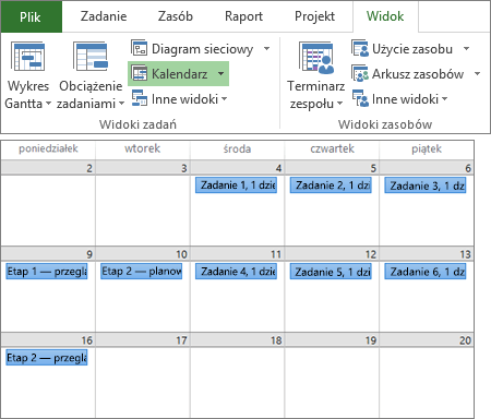 Złożony zrzut ekranu przedstawiający grupy Widoki zadań i Widoki zasobów na karcie Widok i plan projektu w widoku Kalendarz.