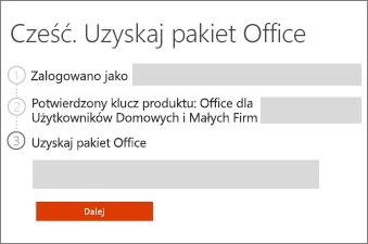 Wybierz swój produkt Office.
