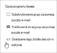 Opcje dostępu dla grupy usługi Yammer