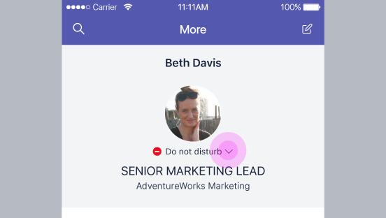 Ten zrzut ekranu przedstawia status jednego z użytkowników.