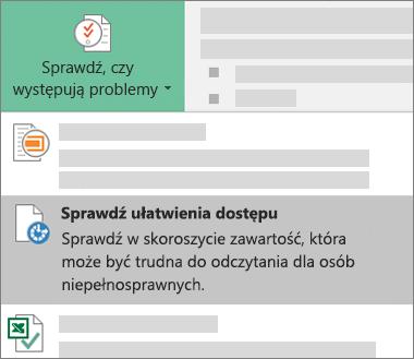 Pozycja menu Sprawdź ułatwienia dostępu