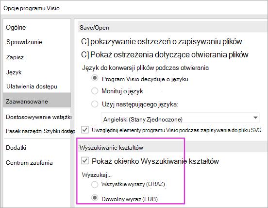 Opcje programu Visio \ zaawansowane \ ustawienia wyszukiwanie kształtów