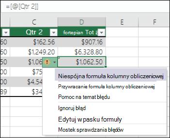 Powiadomienie niespójne błąd formuły w tabeli programu Excel
