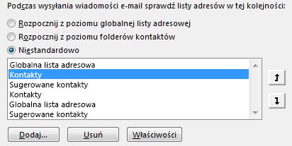 Możesz zdefiniować kolejność, w jakiej program Outlook uzyskuje dostęp do książek adresowych, za pomocą strzałek.