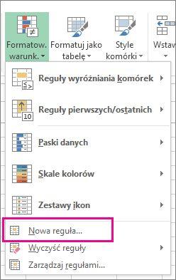 Przycisk Formatowanie warunkowe na karcie Narzędzia główne