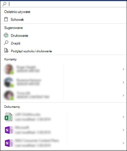 Zaznaczone pole Microsoft Search