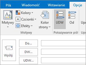 Aby włączyć pole UDW, otwórz nową wiadomość, wybierz kartę Opcje, a następnie w grupie Pokaż pola wybierz pole UDW.