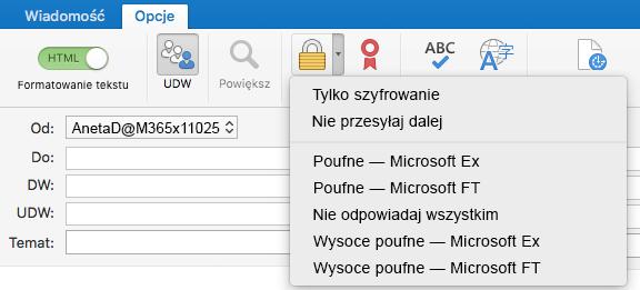 Nowa opcja szyfrowania z obsługą szyfrowania wiadomości usługi Office 365, pozycją Nie przesyłaj dalej i szablonami usługi IRM