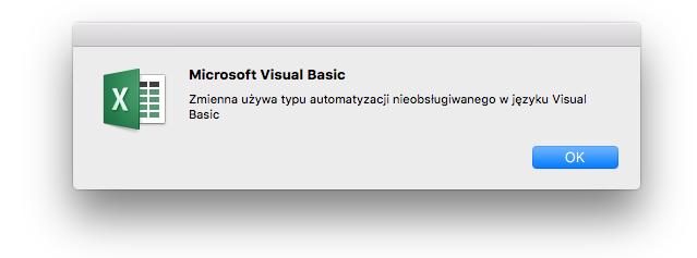 Błąd języka Microsoft Visual Basic: zmienna używa typu automatyzacji, który nie jest obsługiwany przez język Visual Basic.