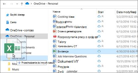Zrzut ekranu przedstawiający przenoszenie pliku do innego folderu w usłudze OneDrive.