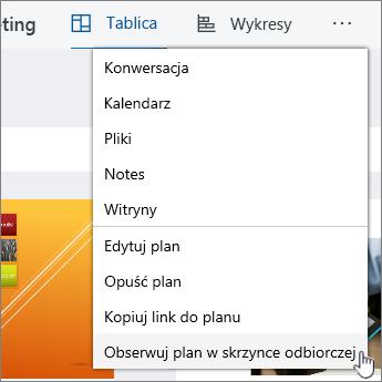 Kliknij pozycję plan Obserwuj w skrzynce odbiorczej subskrybować planu