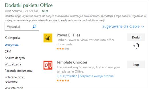 Zrzut ekranu przedstawiający stronę dodatków pakietu Office, w którym wybierz lub Wyszukaj dodatek dla programu Excel.
