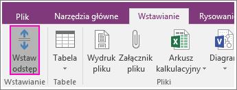 Zrzut ekranu przedstawiający przycisk Wstaw odstęp w programie OneNote 2016.
