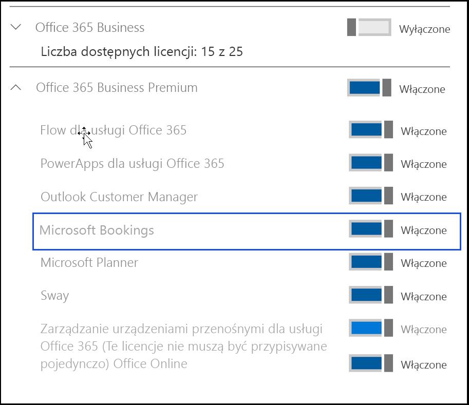 Przechwycony ekran przedstawiający ustawienie Bookings firmy Microsoft w celu wyłączona w w licencji produktu użytkownika.
