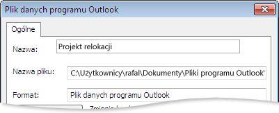 Okno dialogowe Pliki danych programu Outlook