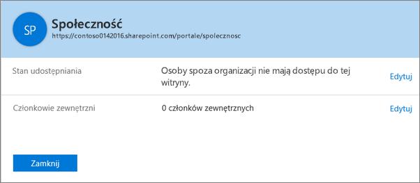 Okno dialogowe ze stanem udostępniania dla konkretnego zbioru witryn z wyłączoną opcją udostępniania.