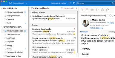 Okienko folderów i okienko odczytu z wyróżnionymi wyszukiwanymi terminami