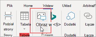 Kliknij pozycję Obrazy na karcie Wstawianie, aby dodać obraz z plików na komputerze.