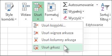 Kliknij strzałkę poniżej przycisku Usuń, a następnie kliknij pozycję Usuń arkusz