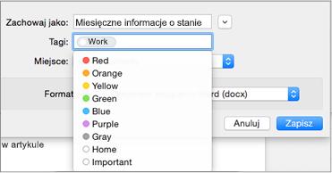 Ustawianie nazwy tagu i zapisywanie lokalizacji szablonu wiadomości e-mail