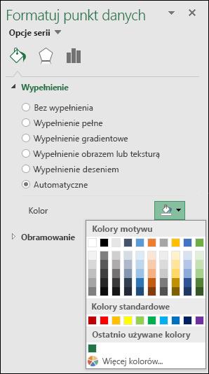 Opcje koloru wykresu mapy w programie Excel dla wykresów kategorii