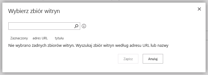 Wybieranie okna dialogowego zbioru witryn