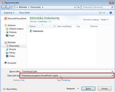 Zapisz jako plik w programie PowerPoint 2010.
