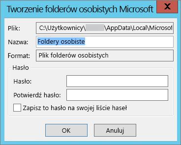 Jeśli nie chcesz chronić pliku pst hasłem, wybierz przycisk OK.