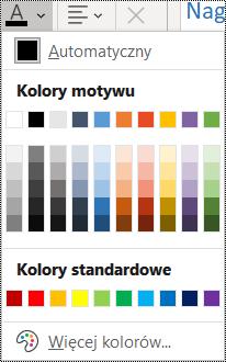 Zrzut ekranu przedstawiający opcję Kolor czcionki w menu Narzędzia główne.