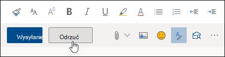 Zrzut ekranu przedstawiający przycisk Odrzuć