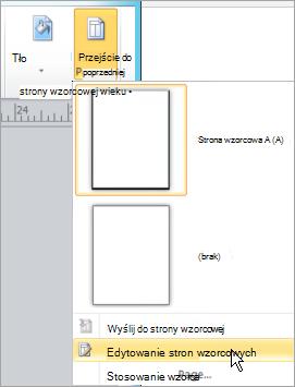 Wybieranie edytowanie stron wzorcowych w menu stron wzorcowych