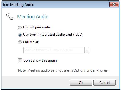Okno dialogowe Dołączanie do spotkania audio