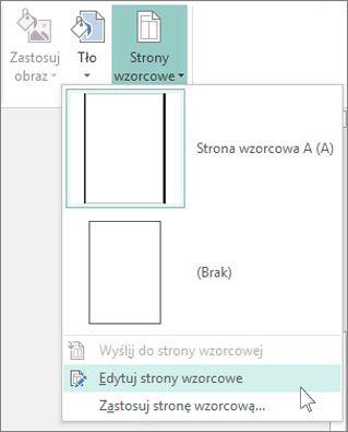 Zrzut ekranu przedstawiający listę rozwijaną Edytowanie stron wzorcowych w programie Publisher.