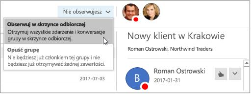 Anulowanie subskrypcji przycisk w nagłówku grupy w Outlook 2016